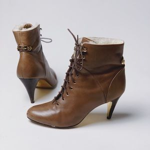 TED BAKER Lace Up Sherpa Trim Heeled Booties
